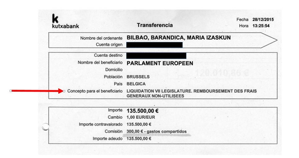 Resguardo de la transferencia a favor del Parlamento europeo correspondiente al dinero no gastado en la pasada legislatura