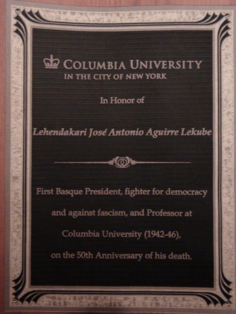 El diploma homenaje de la Universidad de Columbia al lehendakari Aguirre