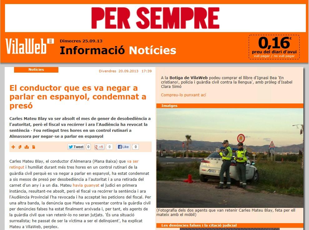 """La noticia en la web catalana """"Villaweb"""""""