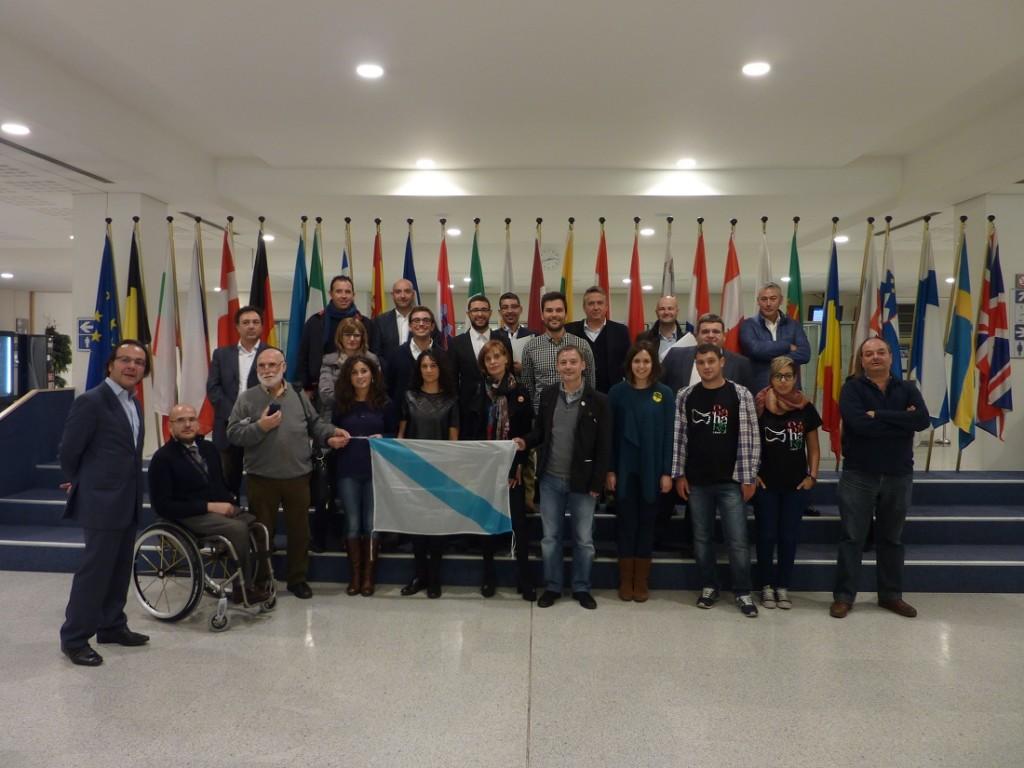 El grupo al completo en el Parlamento Europeo