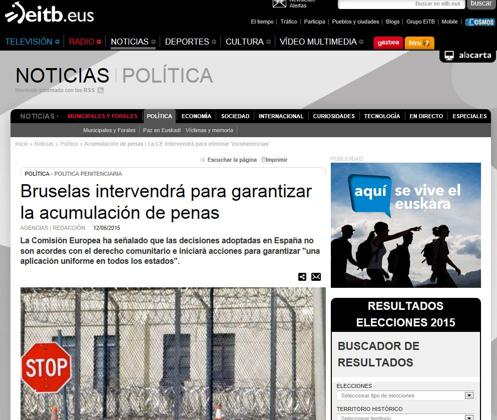 La noticia, en la web de EITB