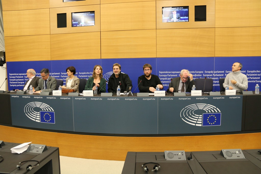 Un aspecto de la rueda de prensa de esta tarde en Estrasburgo