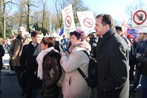 Carlos Iturgaiz y Eider Gardiazabal en la manifestación
