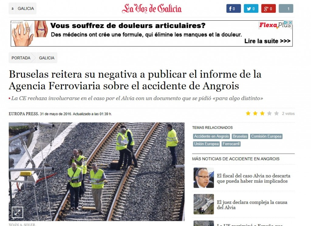 """Noticia de """"La Voz de Galicia"""" en la que se informaba sobre la negativa de Bruselas a publicar el informe"""