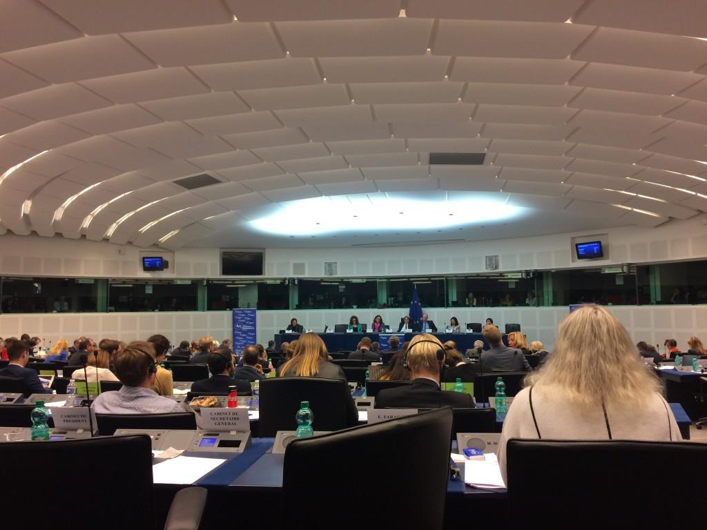 La Comisaria de Comercio Cecilia Malsmtrom ayer en nuestra reunion de grupo