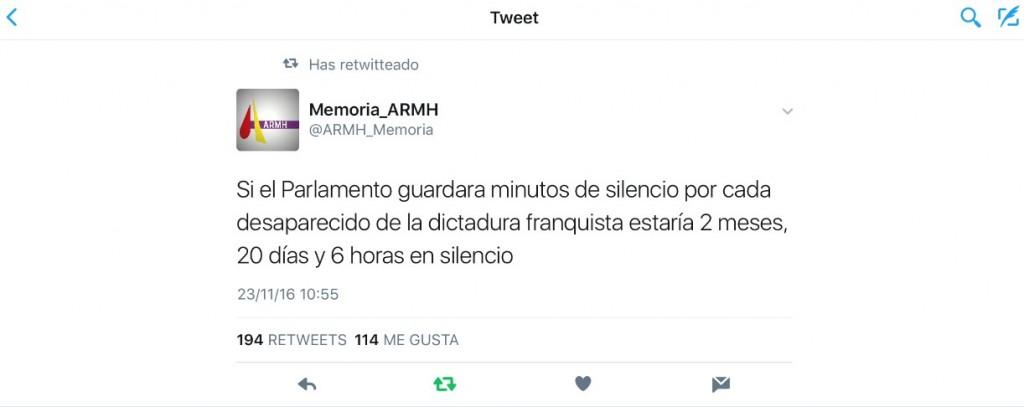 El tweet de la asociación para la recuperación de la Memoria Histórica que me ha ayudado a preparer esta intervención. Muchas gracias-.