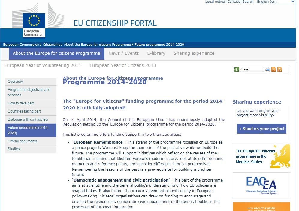 La página official del programa que publica y mantiene la Unión Europea
